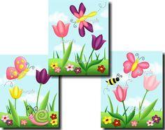 Set of 3 Tulip Butterfly Garden Girls Bedroom Baby Nursery 8 x 10 ART PRINTS on Etsy, $15.00