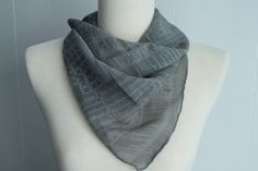 Grey Newsprint Silk Scarf by katiewalkerdesigns on Etsy, $25.00