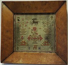 VERY-SMALL-EARLY-19TH-CENTURY-MOTIF-SAMPLER-INITIALLED-EH-c-1840