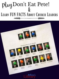 Learn FUN FACTS about the First Presidency and Twelve Apostles while playing the popular game Don't Eat Pete! Perfect for Primary, Youth, or Family Home Evening, or getting ready for General Conference. Mutual Activities, Youth Group Activities, Sunday Activities, Primary Activities, Activities For Girls, Church Activities, Group Games, Youth Groups, Therapy Activities
