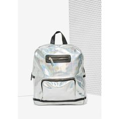 Skinnydip London Beam Me Up Hologram Backpack ($41) ❤ liked on Polyvore featuring bags, backpacks, silver, white handle bags, zipper bag, handle bag, oversized bag and backpacks bags