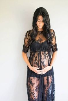CCO11 Black Lace Maternity Dress Gown Photo Prop Clothing