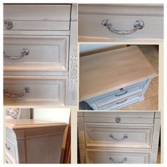 Beautifully painted bedside cabinet in Annie Sloan French Linen and Old White by L'Atelier Creatif