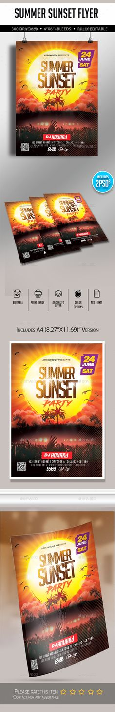 Summer Sunset Flyer Design Template PSD. Download here:  https://graphicriver.