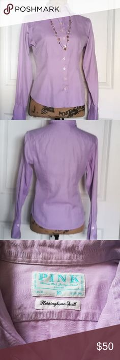 Designer Thomas Pink of London Blouse NWOT...This is an absolutely beautiful button up, fitted blouse in Harringbone Twill with French cuffs. It has a lovely lavender and white cheveron pattern.  It is a European womans size 38, US Women's size 8. Thomas Pink Tops Button Down Shirts