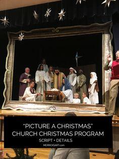 """Picture A Christmas"" Church Christmas Program Details + Script Christmas Skits, Ward Christmas Party, Christmas Program, Christmas Nativity, Christmas Parties, Christmas Plays, Christmas Duck, Christmas Ideas, Christmas Pageant"