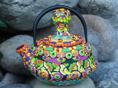 Trippy Teapot Upcycled Cast Iron Clay Mosaic by CrazieHappy, $95.00