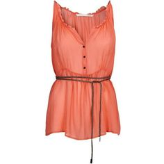 CUSTOMMADE SPAR Gilda silk top fusion coral (€64) found on Polyvore