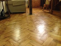 Restored pitch pine parquet flooring by The Floor Restoration Company