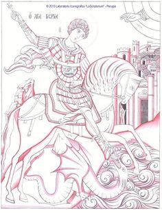 Studio icona San Giorgio e il drago - Giuliano Melzi - Picasa Web Albums Christian Drawings, Christian Art, Byzantine Icons, Byzantine Art, Religious Icons, Religious Art, Writing Icon, Dragon Icon, Saint George And The Dragon