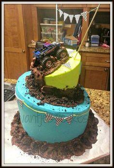 Monster truck birthday cake - Cake by Jessica Chase Avila - CakesDecor Monster Truck Birthday Cake, Monster Truck Party, Torta Blaze, Blaze Cakes, Cupcakes, Monster Trucks, Monster Truck Cakes, Monster Jam Cake, Birthday Fun