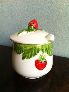 Vintage Strawberry Sugar Bowl/Jam Jar with Spoon and by VedaMaries, $8.50