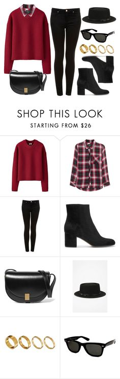 """""""#13928"""" by vany-alvarado ❤ liked on Polyvore featuring Uniqlo, Rails, Topshop, Gianvito Rossi, Victoria Beckham, Deena & Ozzy, Made and Ray-Ban"""