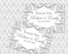 DIY Printable Wedding Thank You Card Template | Instant Download | Victorian Florals in Gray