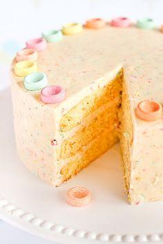 Orange Cake with Fruit Tingles Icing