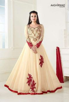 Bollywood Celebrity Dia Mirza Long Anarkali Salwar kameez in Cream Color Designer Anarkali, Designer Salwar Kameez, Anarkali Dress, Anarkali Suits, Lehenga Choli, Long Anarkali, Sarees, Indian Anarkali, Punjabi Suits