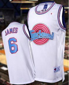 961ca005 Men's Miami Heat 6 Lebron James Space Jam Tune Squad Limited Edition White  Basketball Jerseys