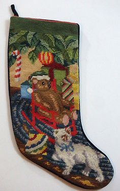 20-034-Needlepoint-Christmas-Stocking-White-Cat-Teddy-Bear-Rocking-Chair-Candy-Cane