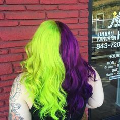 Half and Half Green and Purple Hair Colors Ideas Half And Half Hair Color colors Green hair Ideas Purple Green Hair Ombre, Purple And Green Hair, Blond Ombre, Green Hair Colors, Hair Color Purple, Hair Dye Colors, Cool Hair Color, Ombre Hair, Half And Half Hair