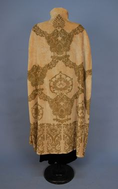 FORTUNY or GALLENGA STENCILED VELVET CAPE, 1920's