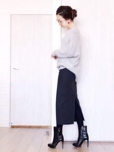 陽さんの「硫化バックサテンタイトスカート (JJ10月号掲載)(DOUBLE STANDARD CLOTHING|ダブル スタンダード クロージング)」を使ったコーディネート
