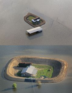 Turn homes into islands. Photos by Scott Olson . . . or how about not building on a flood plain?