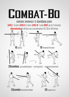 Awesome workout for any Kobudo or other staff trainers. Darebee has some great workouts. Martial Arts Techniques, Self Defense Techniques, Kung Fu Techniques, Combat Training, Staff Training, Karate Training, Martial Arts Workout, Martial Arts Training, Boxing Workout