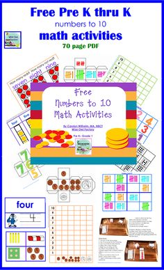 Free 70 page math activities printables with Sudoku, math cubes, tallies, coins, 5 frames, 10 frames, more--at the blog post for up to 10 and also another PDF for 11-20