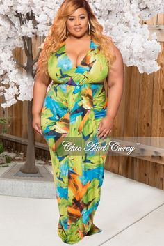 Plus Size V-Neck Tank Maxi Dress in Green Multi Color Print – Chic And Curvy