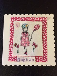 Free motion embroidery birthday card - Littlestitches now available to create bespoke occasion cards...
