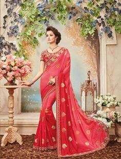 Red  Color Two-Tone Silk Saree - 1297-5072    #sarees #sari #fashion #look #looking #popular #offers #trend #zinnga #zinngafashion #collection #new #fashionable #amazing #womens #fashionable #design #nice #offer #cool