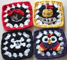 Pirate Granny Squares Crochet Patterns - Pirate, Pirate ship, Skull and Crossbones and a Parrot. These would make a great afghan, purse, scarf, etc. <3