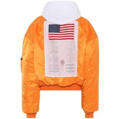 Vetements X Alpha Industries Reversible Jacket (€1.745) ❤ liked on Polyvore featuring outerwear, jackets, double face jacket, reversible jackets, orange jacket and vetements jacket