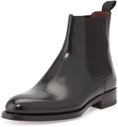 Magnanni for Neiman Marcus Polished Leather Chelsea Boot, Black Black Shearling Jacket, Black Leather Chelsea Boots, Black Leather Biker Jacket, Mens Shoes Boots, Men's Shoes, Shoe Boots, Dress Shoes, Gq, Elegant Man