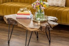 If you're looking for a little drama, let us introduce you to our Natura Hairpin Coffee Table. Featuring a solid Indonesian teak top and mid-century-inspired powder coated metal hairpin legs, these live-edge tables each have a unique shape and size with a distinctive timeworn look. No two will ever look alike. Live Edge Wood, Live Edge Table, Mid Century Modern Living Room, Mid Century Modern Furniture, Mountain Cottage, Solid Wood Coffee Table, Coffee Table Styling, Hairpin Legs, Price Point
