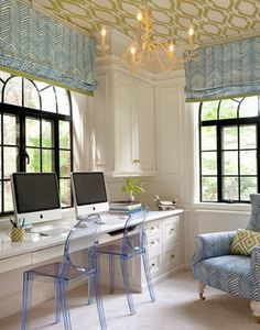 Awesome office with some elegant flourishes
