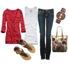Red & Brown, created by #pbmhuck on #polyvore. #fashion #style American Eagle Outfitters Hollister Co.
