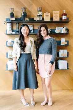 "Jessica and Natalie, Wednesday Tell us about your Wednesday looks! Natalie: ""Wednesdays are usually a slower day where I catch up on desk work and like to go for a more comfortable, casual vibe. Flats and a cozy sweater allow for that, while the dress ensures it's still fashion forward."" Jessica: ""Grey is my favorite color, so this light wool midi-skirt was one of the pieces from Modern Citizen I just had to have. I like tucking in a simple silk blouse like this one from J.Crew, underneath a…"