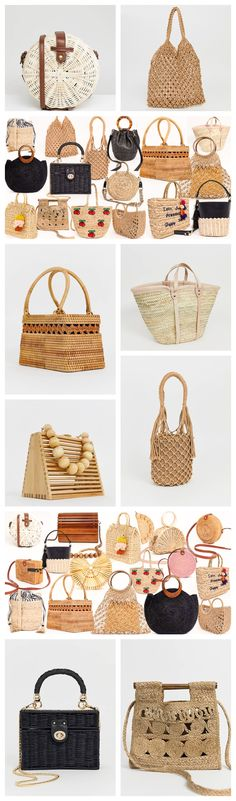 ASOS has released an entire collection of spring-summer bags & purses basket-inspired, made of ropes & straws. It has also reinvented the emblematic purse of Cult Gaia. Summer Purses, Summer Bags, Spring Summer, Straw Visor, Straw Bag, Trilby Hat, Crochet Shorts, Woven Belt, Basket Bag