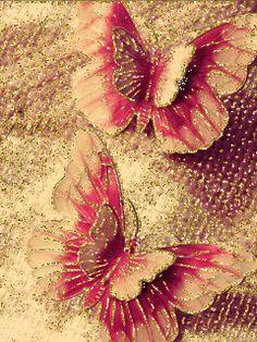 GIFS HERMOSOS: FLRES Y MARIPOSAS ENCONTRADAS EN LA WEB Butterfly Gif, Butterfly Wallpaper, Butterfly Print, Beautiful Butterflies, Beautiful Flowers, Print Design, Gifs, Glitter, Thoughts