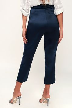 The Lulus My Story Navy Blue Satin Trouser Pants make any workday extra special! Soft satin is extra sleek as it shapes these ankle, tapered trouser pants. Satin Trousers, Tapered Trousers, Trouser Outfits, Trouser Pants, Professional Outfits, Blue Satin, Casual Looks, Capri Pants, Navy Blue
