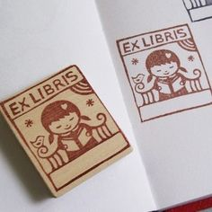 Reading Girl Bookplate Hand Carved Stamp