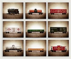 Set of 9 Vintage Toy Train Prints by Photographer Shawn St.Peter of Saint and Sailor Stuidos. The sepia, distressed tones will add so much warmth and character to your space. Perfect for boys room, nursery or man cave. Enjoy These are 430gr/m2 strength gallery-quality canvas. They come mounted on Rustic Nursery Decor, Boys Room Decor, Boy Room, Rustic Decor, Vintage Nursery, Baby Decor, Train Bedroom, Train Nursery, Rustic Artwork