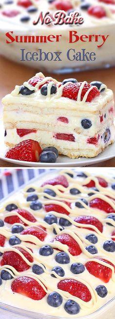 No Bake Summer Berry Icebox Cake (gf graham crackers)