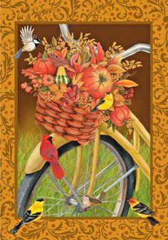 "Autumn Basket of Flowers on Bicycle Large House Flag by Custom Decor 28"" X 40""  #CustomDecor"