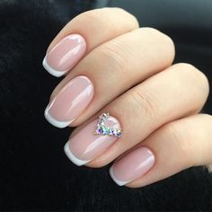 Awesome 42 Popular Nail Art Designs Ideas With Stones For The Perfect Manicure. French Manicure Acrylic Nails, French Manicure Designs, Pink Acrylic Nails, Acrylic Nail Art, Bright Nail Designs, Best Nail Art Designs, Nail Art Rhinestones, Rhinestone Nails, Manicure Colors
