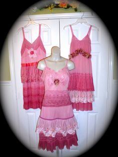 Lingerie Slip Dress Repurposed Vintage Full Slip Party In the Pink Bridesmaid Prom on Etsy, $75.00