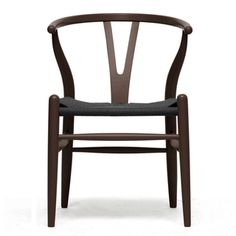 @Overstock.com - Wishbone Chair Brown Wood Y Chair with Black Seat - This dining chair features traditional wood paired with a modern form, resulting in a unique piece for your home. The frame consists of solid wood with a dark brown finish, a curved backrest, and sturdy black hemp seat.  http://www.overstock.com/Home-Garden/Wishbone-Chair-Brown-Wood-Y-Chair-with-Black-Seat/6982582/product.html?CID=214117 $165.99