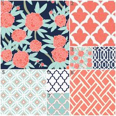 Peony Mint, Coral and Navy (Custom Crib Set) Baby Bedding, Crib Bedding, Trellis, Floral, Modern, Lattice