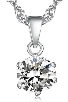 18k white gold pendant with a zircon and 925k Silver necklace only $26.99 on http://starjewls.com/pendants/white-gold-pendants/18k-white-gold-pendant-with-a-zircon-and-925k-silver-necklace.html